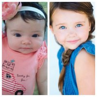 Scarlett side by side at 5 with her baby picture!